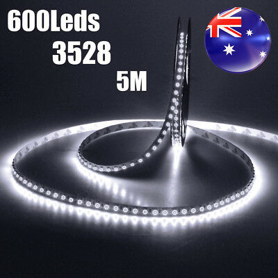 600 LEDs Cool White DC 12V 5M 3528 SMD Bright LED Strip Lights Nonwaterproof AU