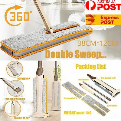 Lazy Hands-Free Double-Side Flat Mop Washable Mop Floor Cleaning Tool Dust Clean