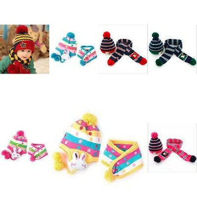 Winter Knitted Wool Warm Hat Scarf Set For Both Boy And Girl