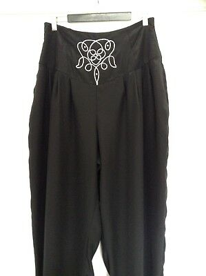 MARC DESSAUER Vintage HighWaist harem pleated black Pants size 14 M-L12 BOHO 80s