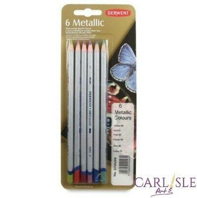 Derwent Metallic Coloured Pencil Set / 6, Silver, Pewter, Gold, Antique Gold,...