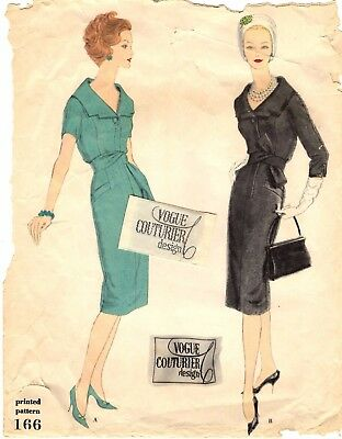 """Vintage 1950s Vogue Couturier Sewing Pattern Women's DRESS 166 Size 14 B34"""" USED"""