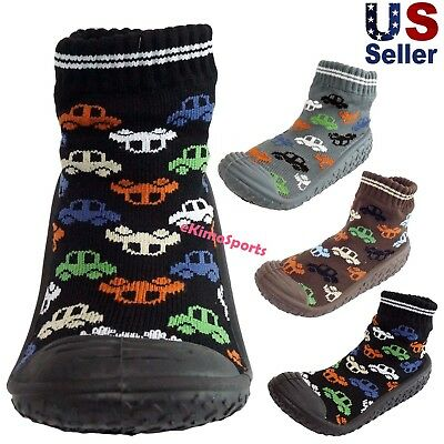 Infant Baby Boys Cars Automobiles Anti-slip Rubber First Walking Sock Shoes