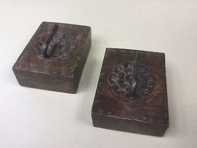 A Pair of Old Rustic Style Wood and Iron Coat Hooks