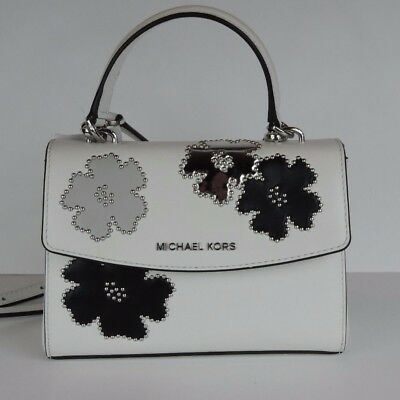 de887450a30af New Michael Kors Ava XS Mini Crossbody white saffiano leather bag black  floral