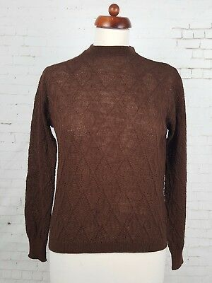 Vtg Ladies 60s / 70s Unworn Brown Lighweight Wool Jumper / Top Mad Men Sz14 EL41