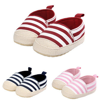 Stripe Infant Newborn Baby Girls Boys Antislip Shoes Toddler Pre-Walker 0-18M