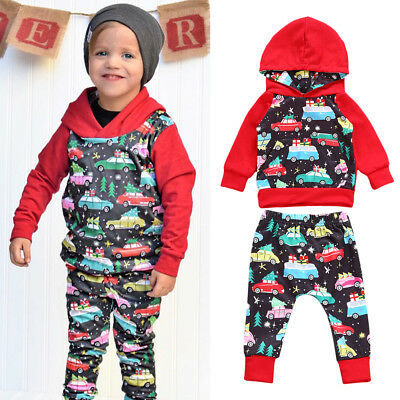 2pcs Newborn Toddler Kids Baby Boys Outfits Hooded Coat +Pants Fall Clothes Set