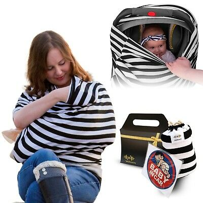 Large breastfeeding nursing cover Stroller Carseat Canopy Free baby in car Decal