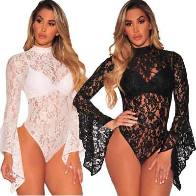 US Stock Sexy Womens Black White Lace Long Sleeve Bodysuit Leotard Lingerie Tops