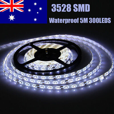 5M Waterproof Cool White 3528 SMD 300 LEDs Led Strip Lights 12V Camping Car Boat