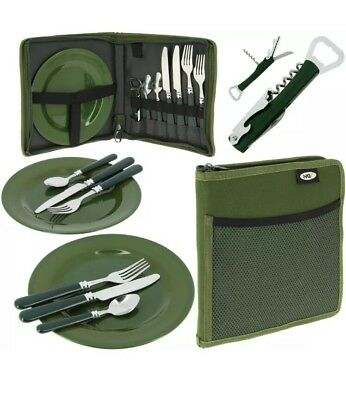 Ngt Carp Fishing Folding Day Cutlery Set Folks Spoons Plates Camping Picnic Set