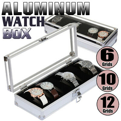 6/10/20 Grids Leather Watch Display Storage Box Case Tray Watch Collector Case
