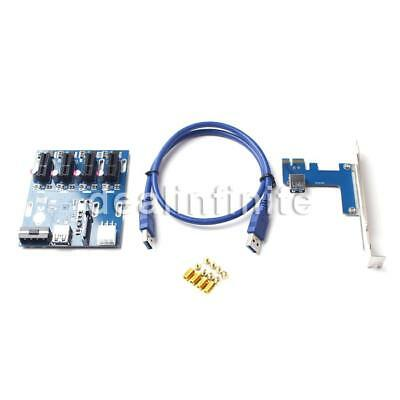 PCIE PCI-E 1X Expansion Kit 1 to 4 Port Switch Multiplier Hub Riser Card USB3.0#