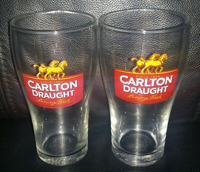 Pair Of Rare Collectable Carlton Draught 425Ml Beer Glasses Great Used Condition