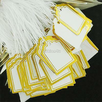 100x LARGE GOLD Rectangle 2cmx1.7cm  LARGE Price Tags Shop(T8) (A)= TAG BOYZ SA