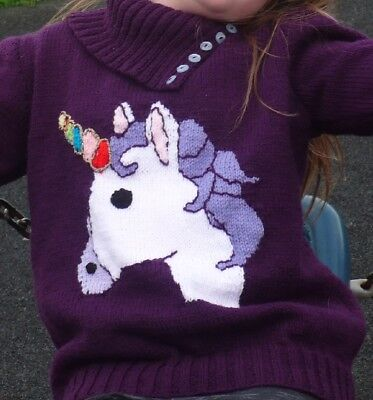 Knitting pattern. Girls sweater. Unicorn, DK. Jumper.Pullover.Christmas.Xmas.