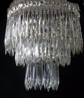 Vintage Glass Crystal Three tier  WATERFALL  ICICLE Chandelier 7.5 in duameter