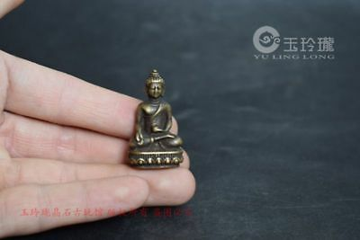 Asian Chinese Old Bronze Collectable Handwork Carved Buddha Statue Ornament