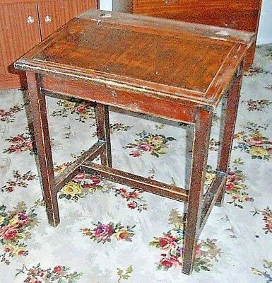 Antique Vintage School Desk with Inkwell and pen holder