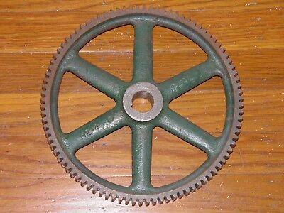 """Old, antique, 6 spokes, industrial, cast iron wheel/gear or lamp base. 9 3/8"""" D"""