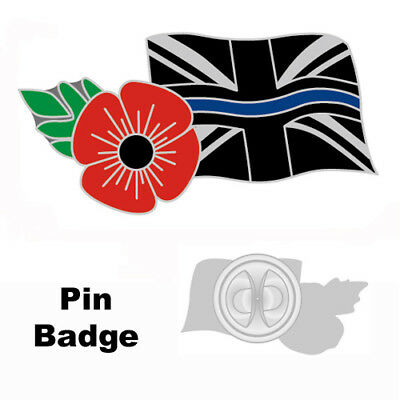 Thin Blue Line Poppy Uk Union Police Mourning Band Remembrance Badge Pin Tie