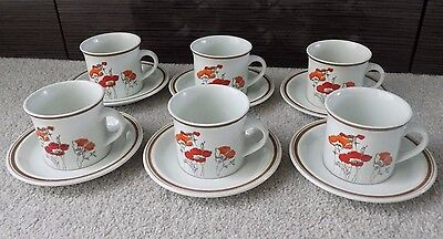 6 x Vintage Cups And Saucers, Royal Doulton Fieldflower, Lambeth Stoneware