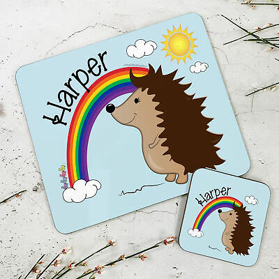 Personalised Kids New Rainbow Hedgehog Wooden Glossy Placemat and Coaster Set
