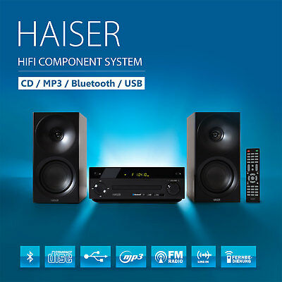 HAISER ® HSR 118 Kompakt HiFi System Bluetooth USB CD MP3 Radio Fernbedienung