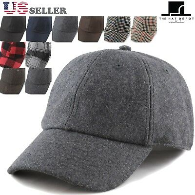 The Hat Depot Unisex Wool Blend Baseball Cap Hat with Adjustable Buckle Closure