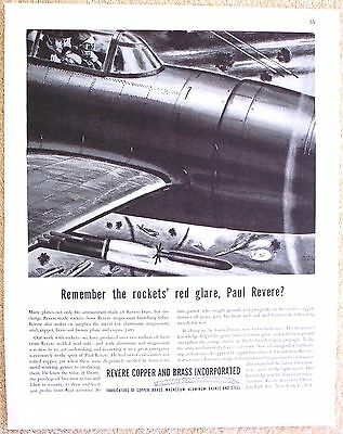 Vintage 1945 Revere Copper and Brass Ad WWII Aircraft Rockets Launch Tubes WW2