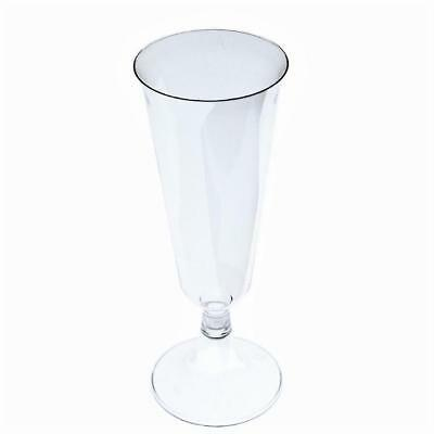 144 count - 5 oz WEDDING PLASTIC WINE CLEAR CHAMPAGNE FLUTES DISPOSABLE GLASSES!