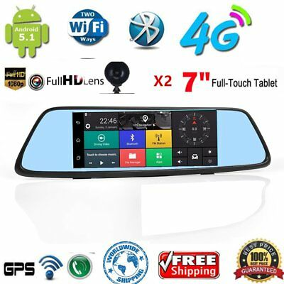 """4G Android 5.1 Car DVR camera RearView Mirror 7"""" IPS GPS wifi bluetooth Dash SS"""