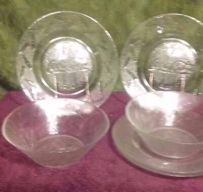 Coca Cola clear glass embossed bottles 4 salad plates & 2 bowls