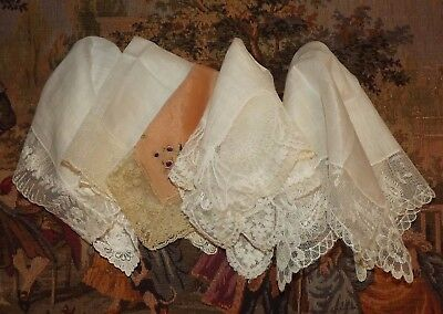 Lot 5 ANTIQUE / VINTAGE Embroidered Net Embroidery Lace HANDKERCHIEFS Dainty
