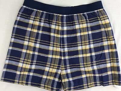 Boxer Shorts Adult Large NWT Made In USA Cotton Plaid Navy Yellow White Pajamas