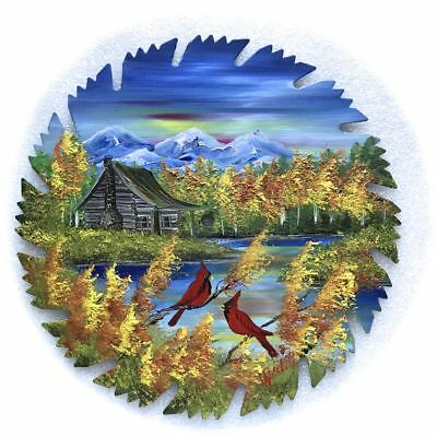 Hand Painted Saw Blade Art  Mountain Fall Log Cabin and Cardinals 9 inch