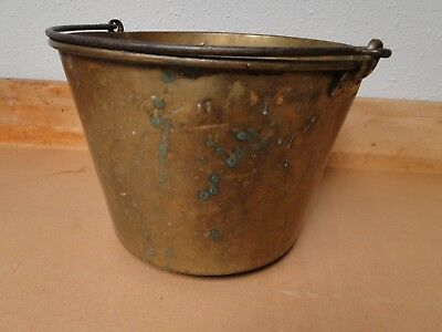 Large Vintage Antique Brass Bucket, planter, iron handles 9 1/2'' height