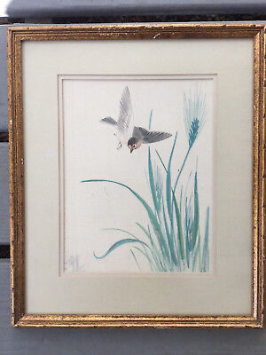Vintage Framed Hand Painted Japanese Watercolor Painting of a Bird Signed