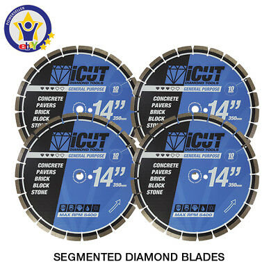 "4 PK - 14"" Diamond Blades Concrete, Pavers, Brick, Block, Stone FREE SHIPPING"