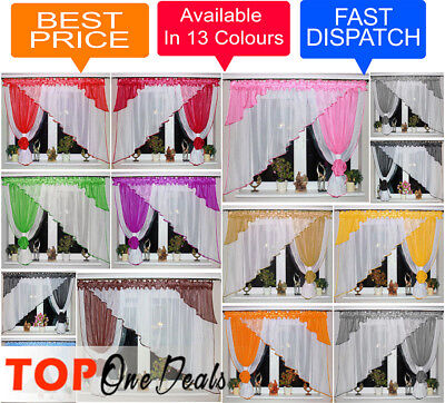 Voile Net Curtains Ready Made Modern Design Living Dining Room Bedroom New