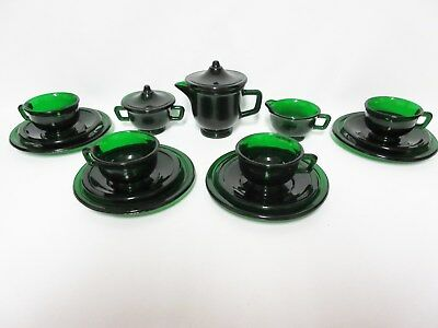 Extrodinarily RARE Akro Agate Transparent Green Miss America Child Tea Set