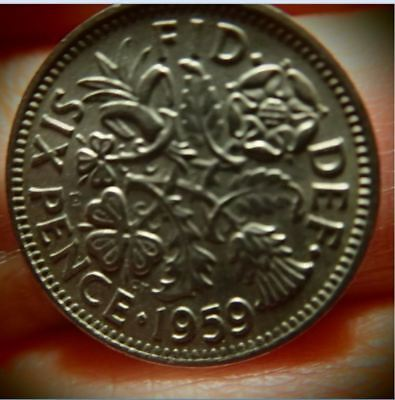 Wow Lot Of 7 1959  British Wedding Sixpences  Queen Elizabeth Ii  Blowout Price