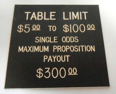 Casino Table Limit Rules Sign Gaming Cards Double Sided Brown