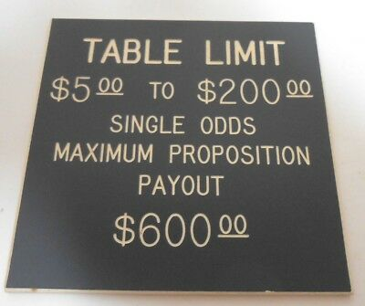 Casino Table Limit Rules Sign Gaming Cards Double Sided Grey
