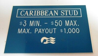 Casino Table Limit Rules Sign Gaming Caribbean Stud Cards Single Sided Blue