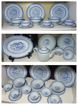 Set Vintage Chinese Porcelain Blue White Dragon Translucent Rice Grain Kangxi