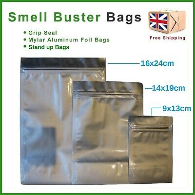 Mylar Plastic & Aluminum Smell Buster Bags Odour Proof Stash Herb Coffee Tea