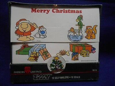 vtg ZIGGY Christmas Cards 12 Self Mailer Cards w Seals 1987 NEW Sealed Package