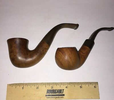 Lot Of 2 Estate Pipes Briar Burl Bent Airflow Calabash Vintage Antique Pipe